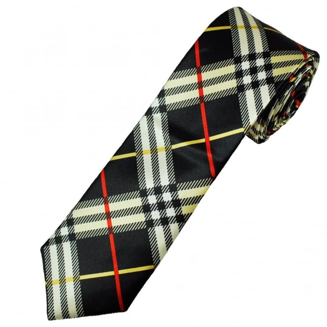 black, white, yellow and red check patterned men