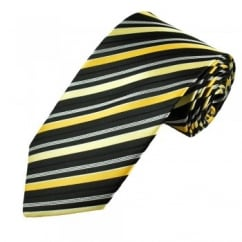 Black, White & Yellow Striped Men's Tie