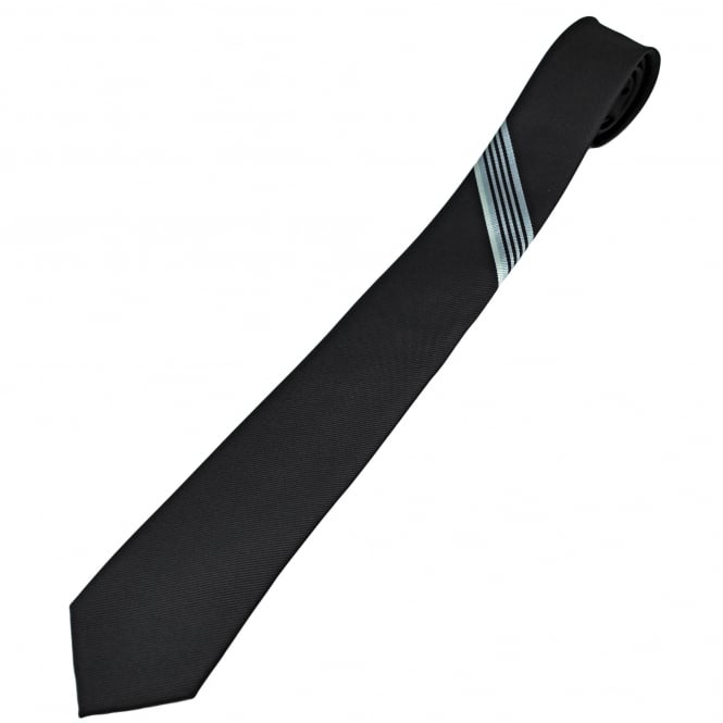 Black with Grey & Ivory Stripes Men's Skinny Tie
