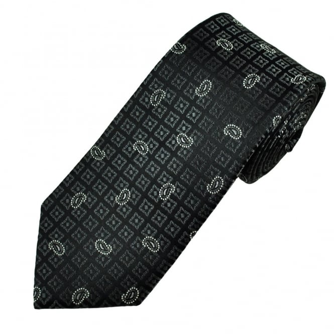 Black with Grey Square & Silver Paisley Pattern Men's Silk Tie