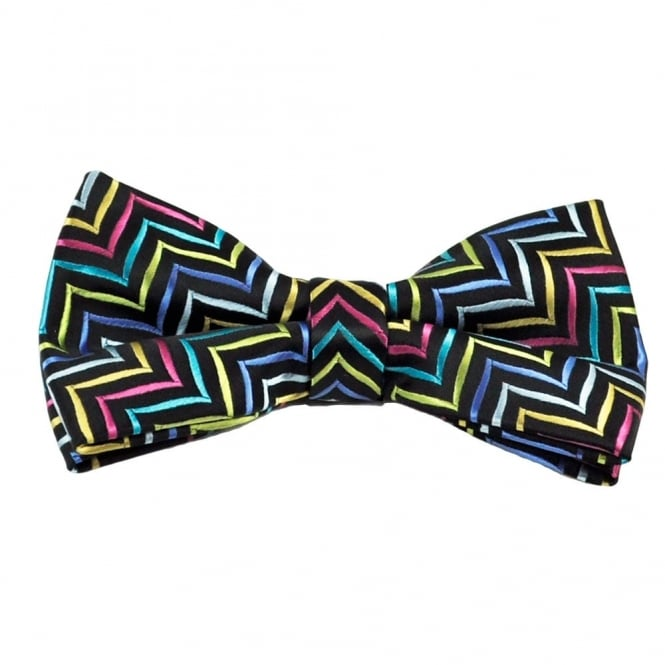 Black With Multi Coloured Pattern Bow Tie