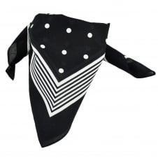 Black With White Stripes & Polka Dot Bandana Neckerchief