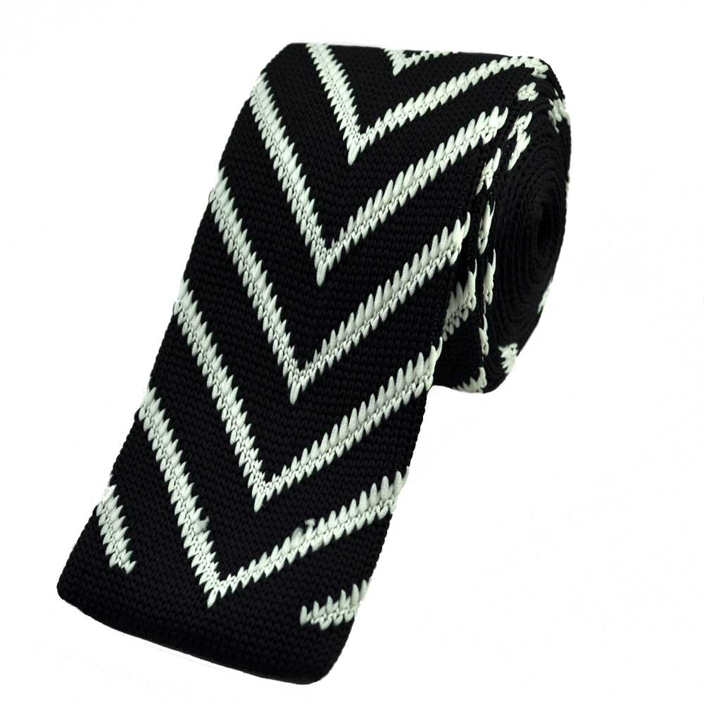 Black with White V Design Knitted Tie