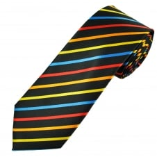 Black, Yellow, Orange, Red & Blue Striped Men's Tie