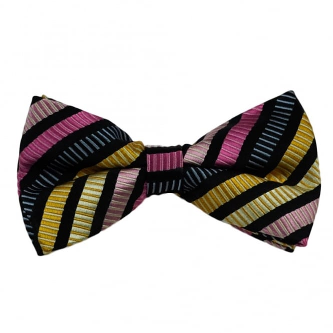 Black, Yellow & Pink Striped Silk Bow Tie