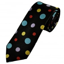 Black, Yellow, Red, Lilac & Blue Circles Patterned Men's Luxury Silk Tie