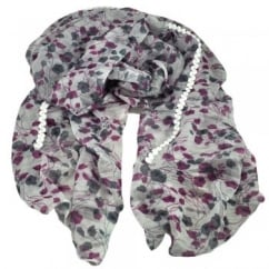 Blackcurrant Red & Black leaves & Flowers on a Silver White Floral Scarf