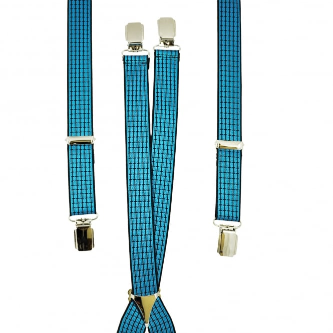 Blue & Black Patterned Men's Trouser Braces