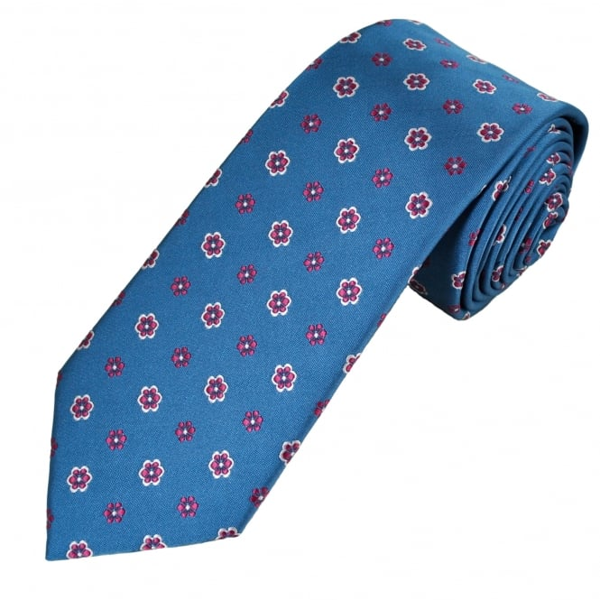 Blue, Burgundy & Silver Flower Patterned Men's Tie