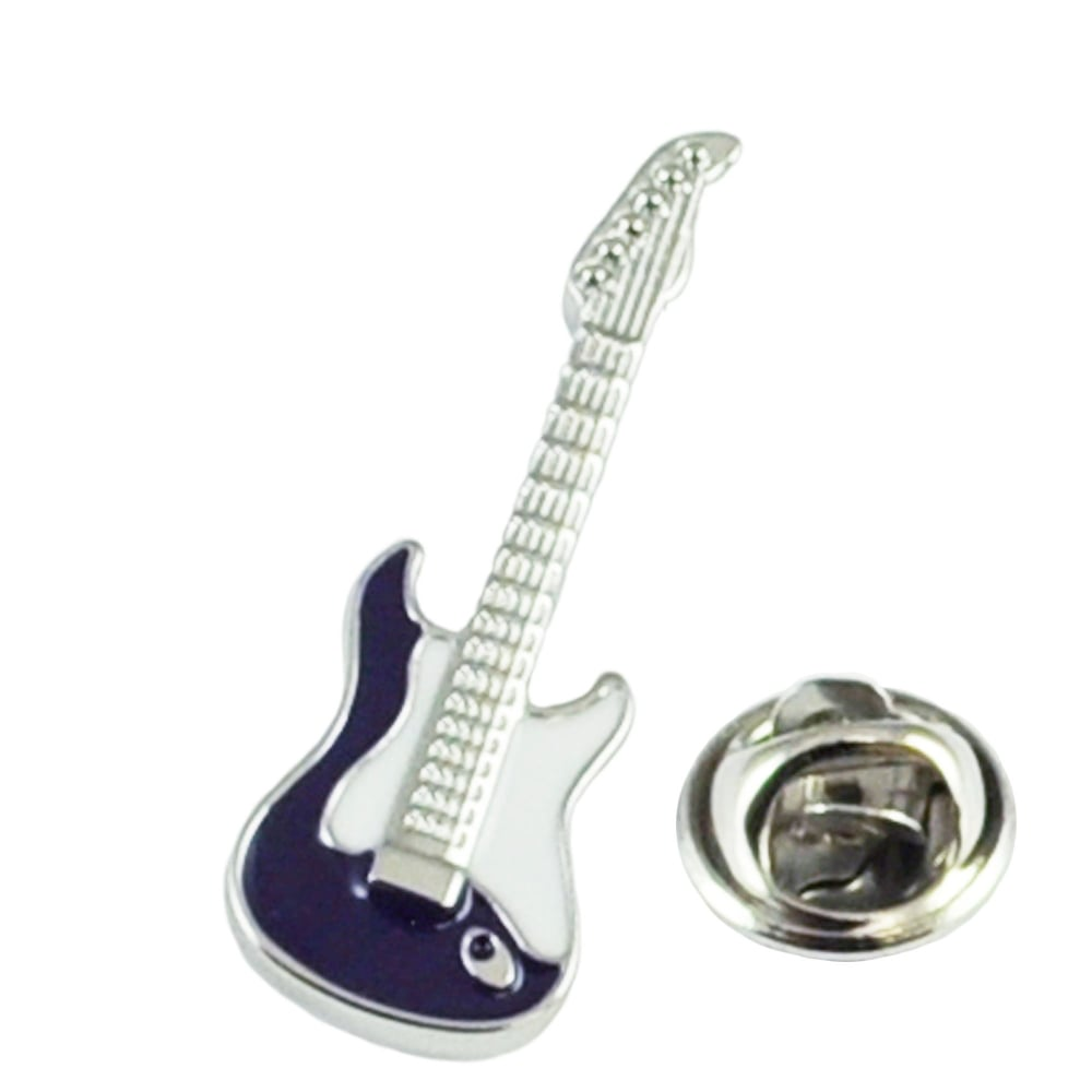 blue electric guitar lapel pin badge from ties planet uk