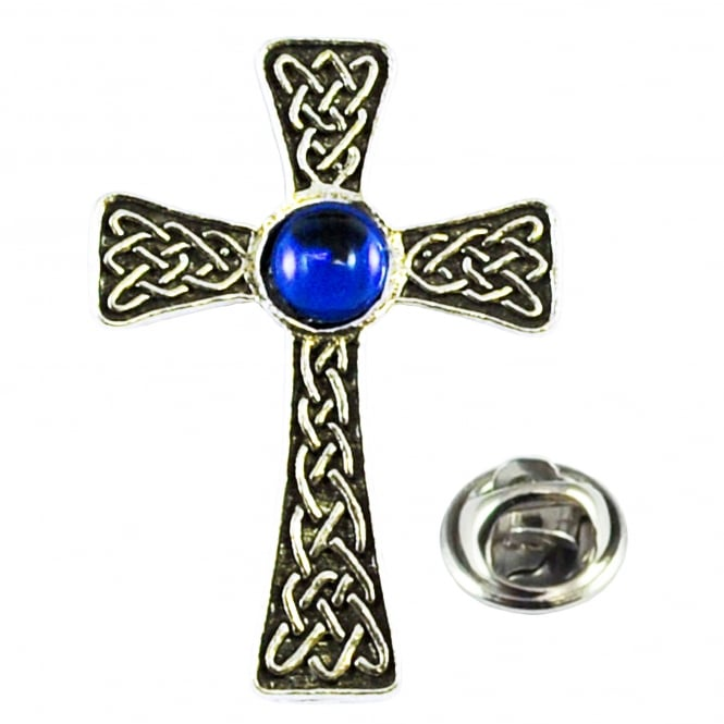 Blue Gem Celtic Cross Pewter Lapel Pin Badge