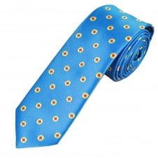 Blue, Gold & Red Circle Patterned Men's Tie