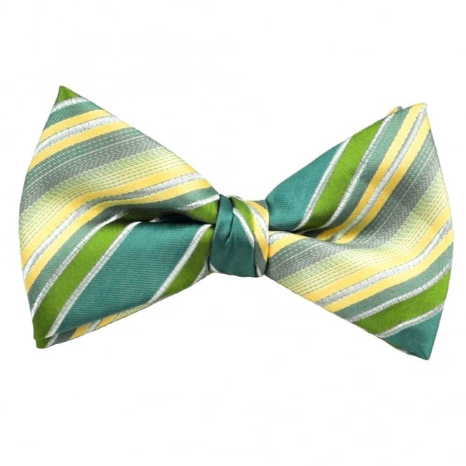 Blue, Green, Gold & Silver Striped Silk Bow Tie