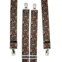 Blue, Green, Pink & Lemon Yellow Paisley Patterned Men's Trouser Braces