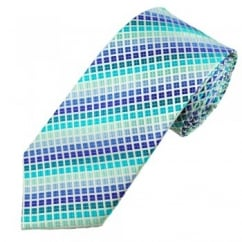 Blue, Green & White Checked Men's Silk Tie