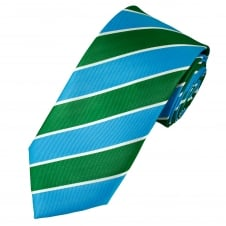 Blue, Green & White Striped Men's Tie