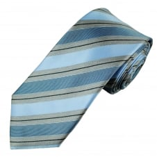 Blue, Grey & Black Striped Men's Tie