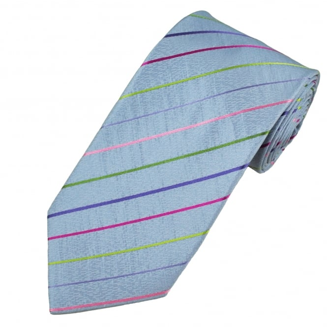 Blue & Grey Multi-Coloured Striped Patterned Men's Silk Tie