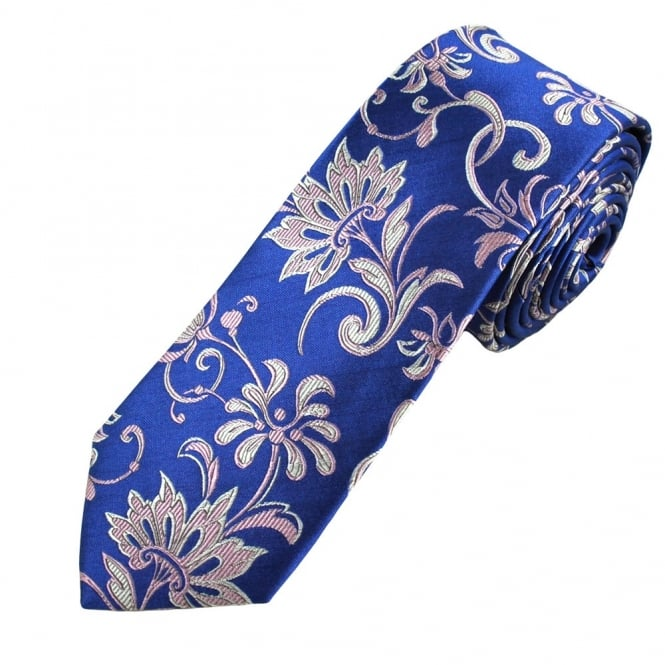 Blue, Lilac, Silver & Coral Patterned Luxury Narrow Silk Tie