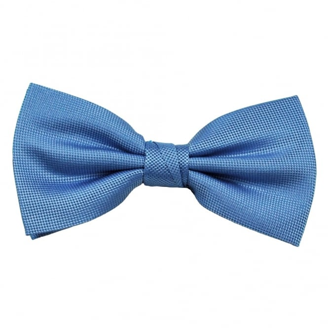 Blue Micro Check Patterned Silk Bow Tie
