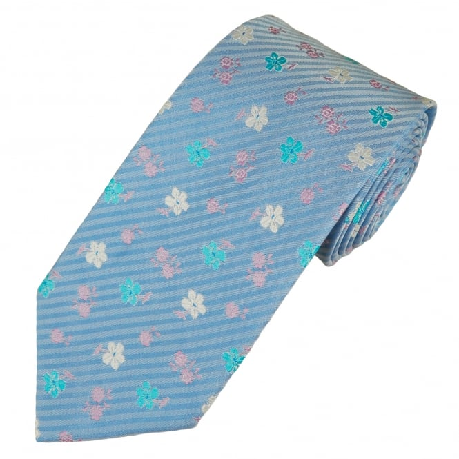 Blue & Multi Coloured Flower Patterned Men's Tie