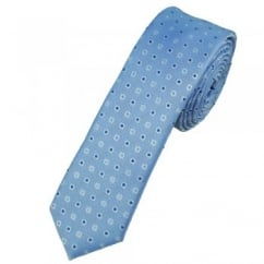 Blue, Navy & Light Blue Spot Patterned Skinny Tie