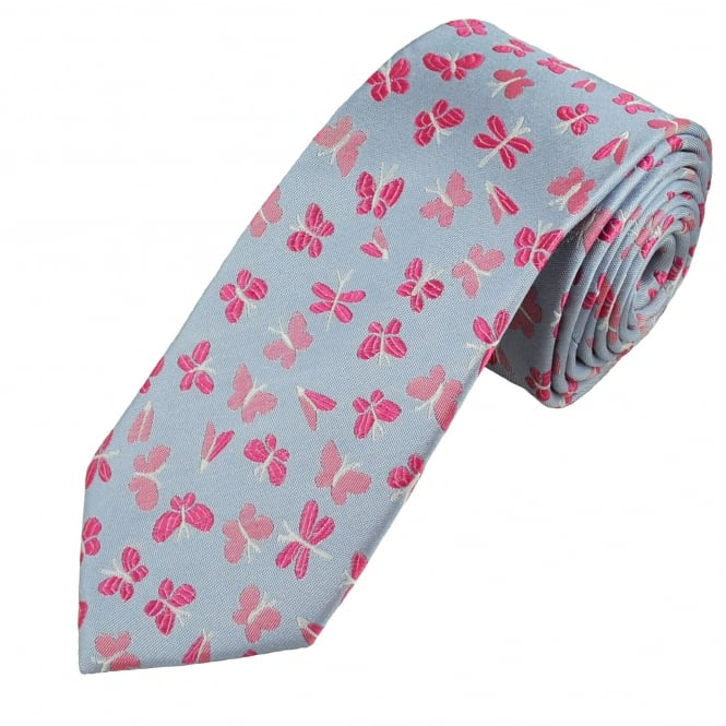Blue & Pink Butterflies Luxury Silk Novelty Tie