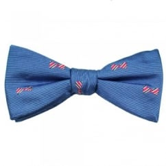 Blue, Pink, Navy & Silver Dickie Bow Patterned Men's Silk Bow Tie