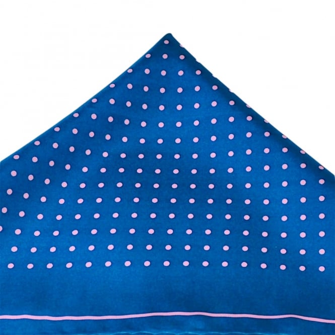 Blue & Pink Polka Dot Silk Handkerchief