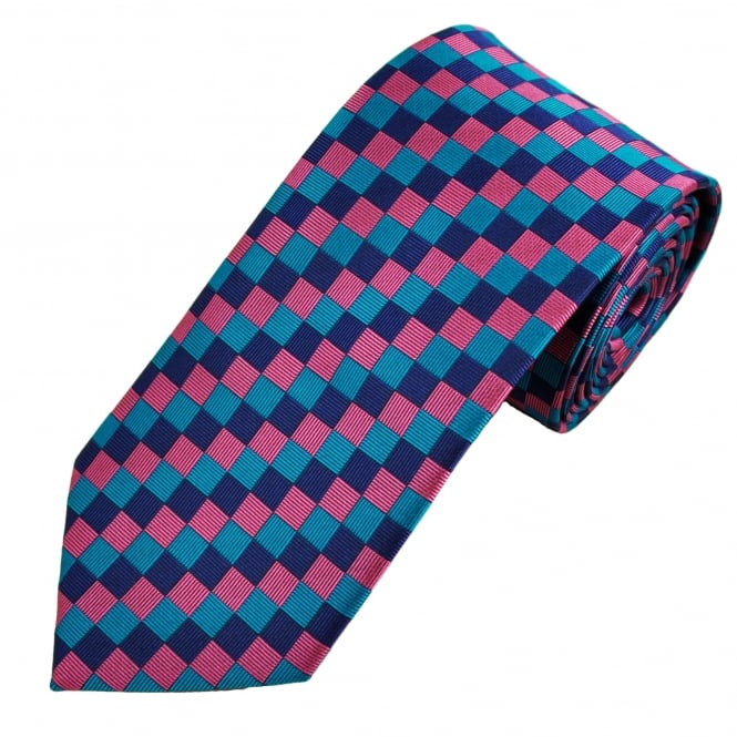 Ties & Bowties Blue, Pink & Purple Square Check Patterned Men's Tie