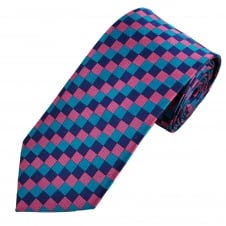 Blue, Pink & Purple Square Check Patterned Men's Tie