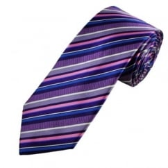 Blue, Pink, White & Shades of Purple Stripe Patterned Men's Silk Tie