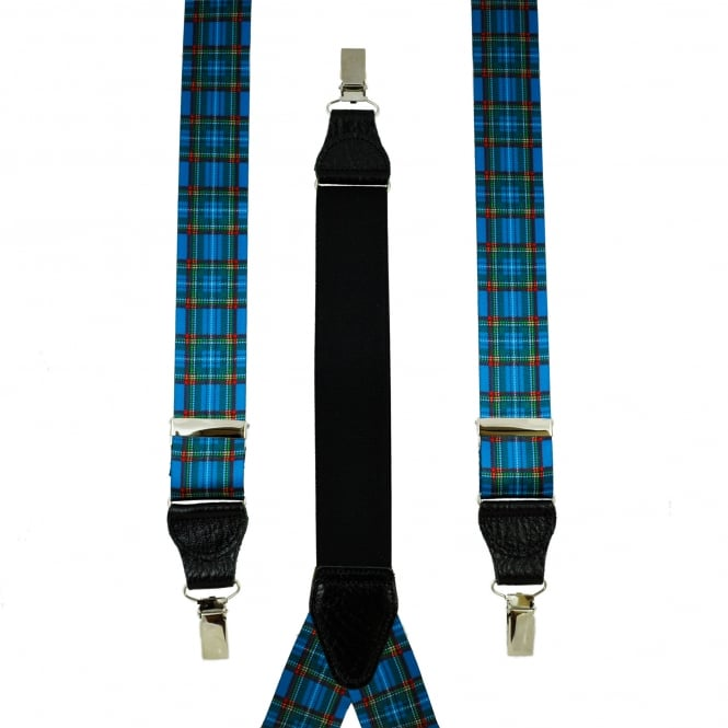 Blue, Red, Green & Yellow Tartan Checked Leather End Clip Men's Trouser Braces