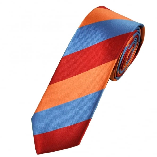 blue, red and orange striped narrow tie