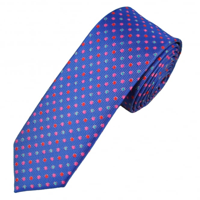 Blue, Red, Pink & Turquoise Polka Dot Men's Skinny Tie