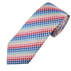Blue, Red, Pink & White Checked Men's Silk Tie