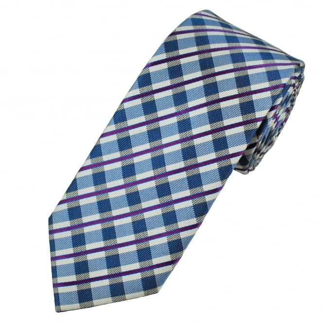Blue, Red & Silver Checked Men's Silk Tie