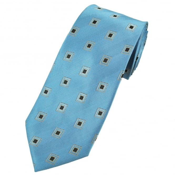Blue, Silver & Black Square Patterned Men's Extra Long Tie