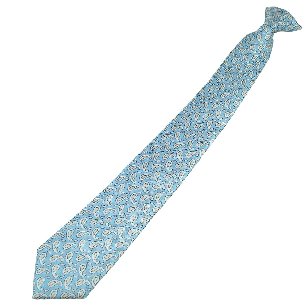 blue silver ivory paisley patterned clip on tie from