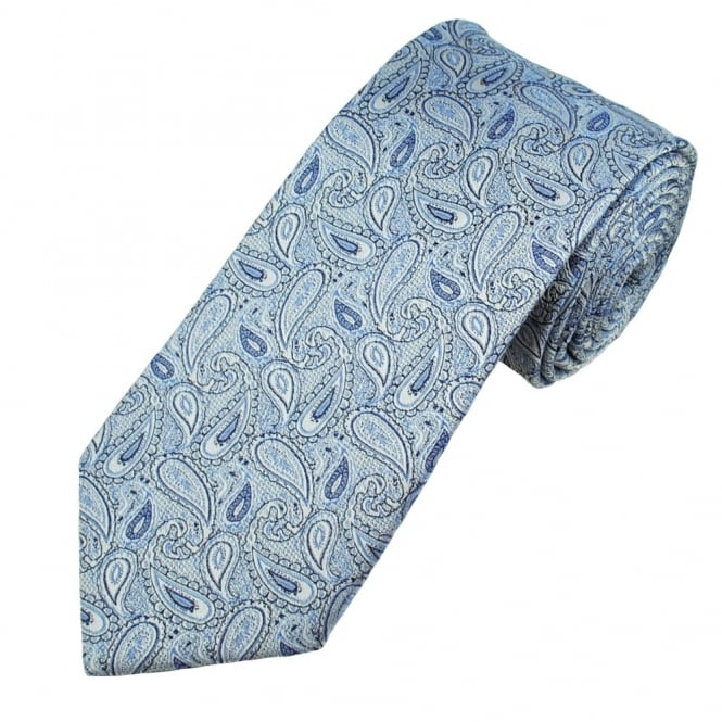 Blue, Silver & Navy Paisley Patterned Men's Silk Tie