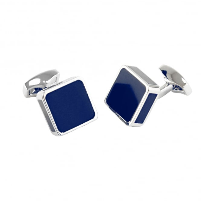 Blue & Silver Square Enamel Cufflinks