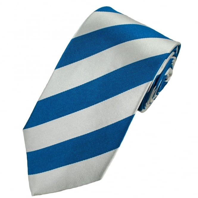 Blue & Silver-White Striped Silk Tie