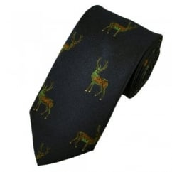 Blue Stag Silk Country Tie by Van Buck