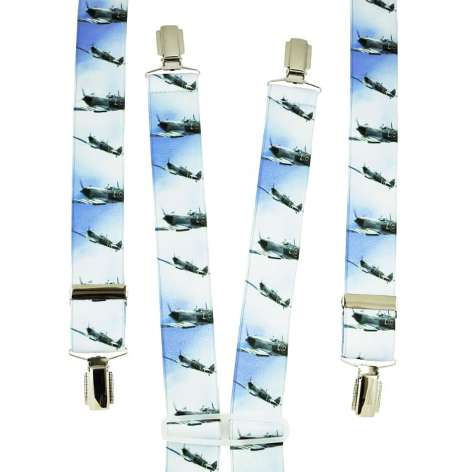 Blue & White Aeroplanes Men's Trouser Braces