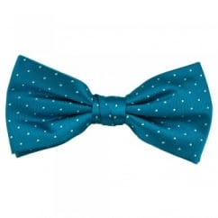 Blue & White Polka Dot Silk Bow Tie