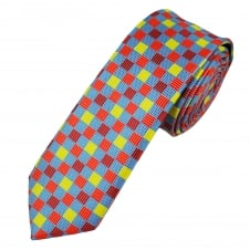 Blue, Yellow & Red Square Patterned Men's Skinny Tie