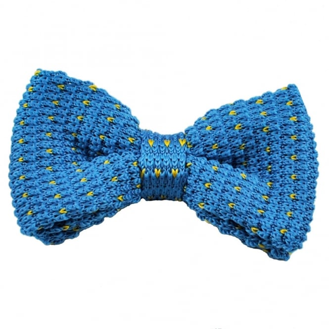 Blue & Yellow V Patterned Knitted Bow Tie