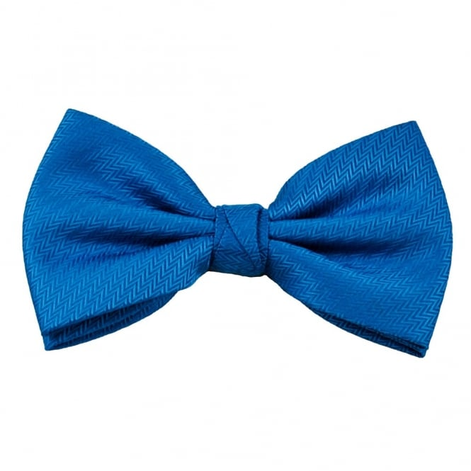 Blue Zig Zag Self Patterned Men's Bow Tie