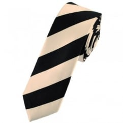 Blush Peach & Black Striped Skinny Tie