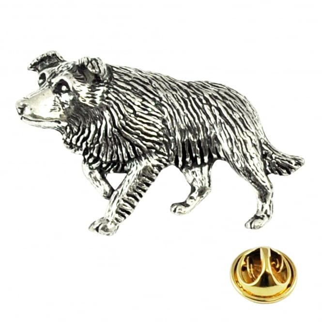 Border Collie Dog English Pewter Lapel Pin Badge